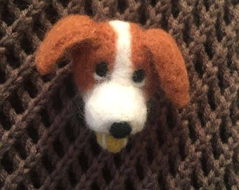 Jack Russell, Needle felted animal brooch, Felted dog brooch pin, Cute dog lover gift women, Jack Russell wool brooch, Felted dog with ball