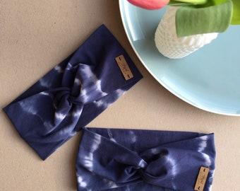 Headband Twist batik dark blue