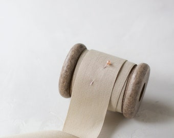 """Tan Tight Weave Cotton Ribbon (with Wooden Spool) - 5 yards - 1.5"""" wide"""
