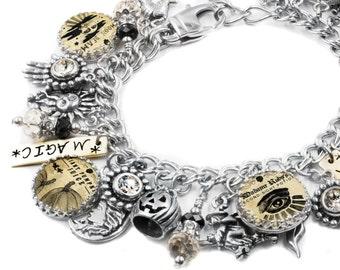 Halloween Jewelry, Silver Charm Bracelet, Holiday Jewelry, Halloween Bracelet, Moonbeams Magic Shoppe
