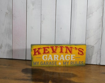 Garage Sign/Personalized/Red/Gray/ White/Colors/Personalized/Name/Shelf Sitter/Gift/Male gift/Christmas Gift/U Choose Colors