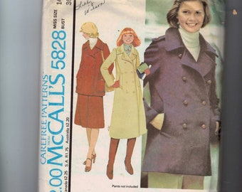 1970s Vintage Sewing Pattern McCalls 5828 Coat or Jacket with Skirt Size 14 Bust 36 1977 70s