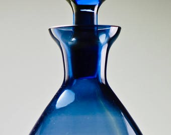 Danish Modern Mid Century Art Glass Lidded Decanter