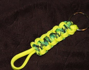 Paracord Keychain - Dragonfly and Neon Yellow #D19