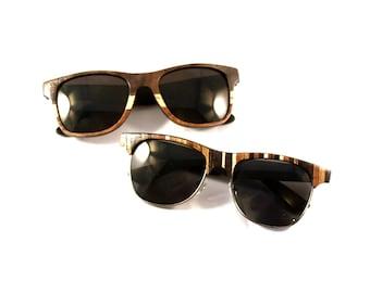 Sweetheart Sunglasses Set His and Her Wood Veneered Sunglasses // Bride and Groom