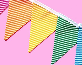 Striped bunting - striped banner - rainbow bunting - rainbow banner - tea party decorations - party decor - party decorations