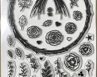 Wreath Making Clear Rubber Stamp Set w/ twig wreath, bow, leaves, leaf, flower, flowers, star, rose, holly, pine cone, heart