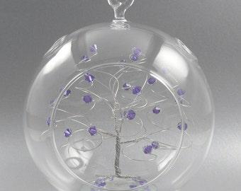 Crystal Christmas Ornament Tanzanite Purple Swarovski Crystal Elements and Silver June Crystal Christmas Ornament