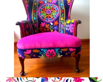 "SOLD Vintage Arm chair wing back. Multicolor. Blends well with your otomi Decor! ""La Bohemia"" - We can make one very similar and as gorgeous"