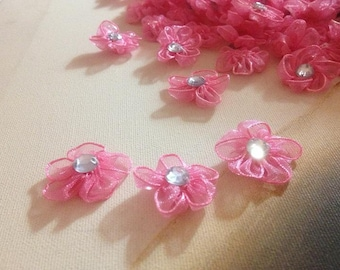 """100pcs 3cm 1.18"""" wide hot pink flower  tulle stones embroidery lace appliques patches W50E58Q127T free ship"""