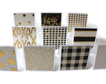 Assorted Mini Cards, Gold Print Accents, Thank you Cards, Note cards, Gift Tags, Advice Cards, 3x3 inch cards, Note Card Set, Set of 10
