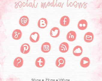 rose pink blog social media icons pack, web buttons blog design, social buttons, social icons png, instant download, web design graphics 005