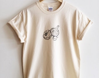 Garlic T-Shirt, Garden Shirt, Screen Printed T Shirt, Clothing Gift, Foodie Gift