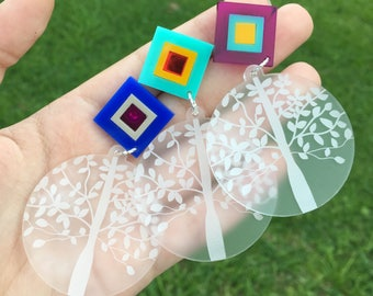 Clear matt round drops (Laser Cut Acrylic Earrings) - Choose your own colour - Tree of life earrings