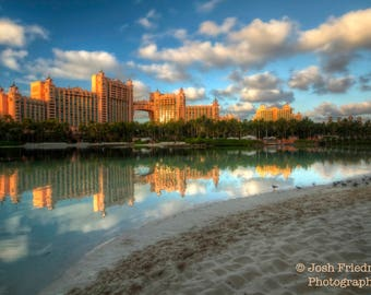 Atlantis Bahamas Photograph Royal Towers Reflection in Paradise Lagoon Travel Photography Tropical Beach Landscape The Cove Paradise Island
