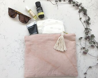 Hand dyed Linen clutch /  eco bag /baby shower gift,