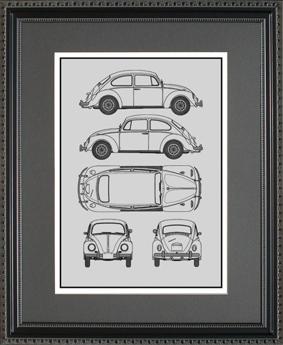 Volkswagen blueprint framed art car auto gift choose your malvernweather Image collections