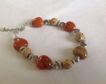 "Bubble Heart Glazed Bracelet Perfect Christmas Gift Idea  Size 9"""