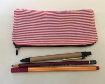 Striped pencil case/zipper pouch/makeup bag