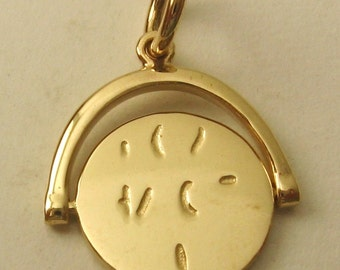 "Genuine SOLID 9K 9ct YELLOW GOLD Spinning "" I Love You "" Love Valentine Wedding charm/pendant"