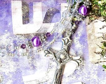 Rosary LAVANDER VIOLET crystal beads Czech Swarovski lilac faux pearl tibetan silver religious