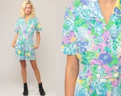 80s Romper One Piece Floral Onesie Print High Waist Pocket Button Up 1980s Vintage Playsuit Shorts Hipster Pink Blue Small Medium