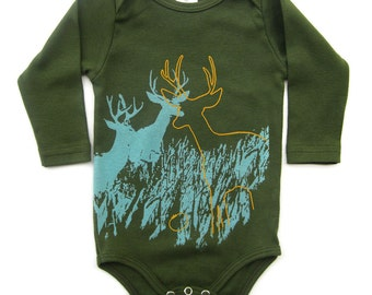 Gender Neutral Baby Clothes, Hipster Baby Clothes, Onesie baby, Baby Girl, Baby Boy, Deer, Baby Long Sleeves, Organic Onesie, neutral baby
