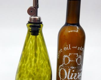 Lovely Olive Green  Hand Blown Oil and Vinegar Cruet ,Bottle, Bottle Pourer  by Rebecca Zhukov