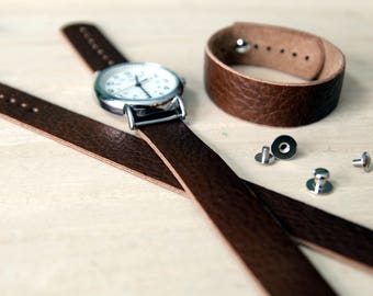 Leather watch strap for Timex Weekender - Horween Brown Bison