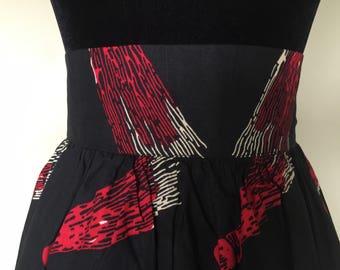 Ankara skirt/ african print/ cotton skirt/ midi skirt/ full skirt/ high waist