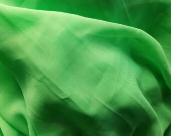 Neon Bright Lime Green Chiffon Sheer Fabric Yardage