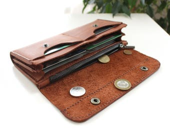 womens wallet Real leather wallet Long leather wallet Long wallet travel wallet leather clutch card holder coin pocket leather clutch Brown