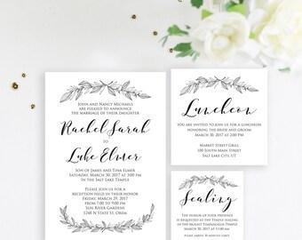 Simple Wedding Invitation, LDS wedding invitation, Modern Wedding Invite