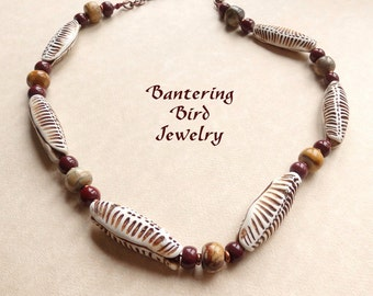 Brown African Statement Necklace,  Hand Knotted Polymer Clay Pod Beads, Mookaite Jasper, Tribal Style Beaded Jewelry, Mother's Day Gift