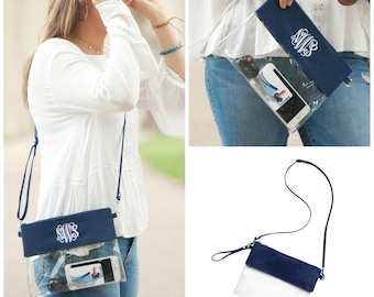 Navy Game Day Clear Zip Purse