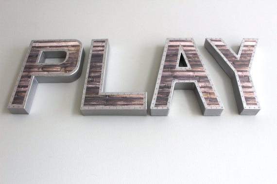 Reclaimed Metal Letters Cool 8 Faux Reclaimed Wood Lettersmetal Letters Wooden Design Ideas