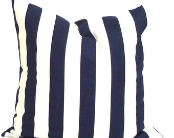 Navy Blue Stripe Pillow, Blue Pillow Cover, Decorative Pillow, Throw Pillow, Blue Stripe Pillow, Nautical Pillow, All Sizes,  Euro, Cushion