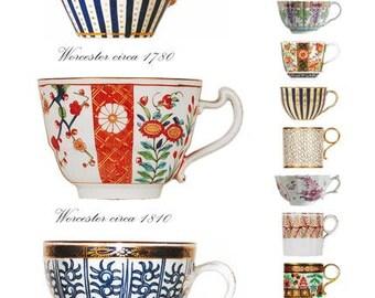 Blank Greetings Card - Worcester Cups, 1770-1825