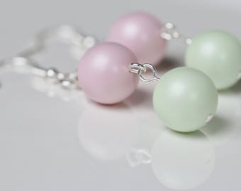 Pastel Pink and Green Swarovski Earrings