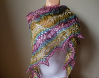 Lace shawl mohair yarn  camel beige , hand knitted Pink Blue Green