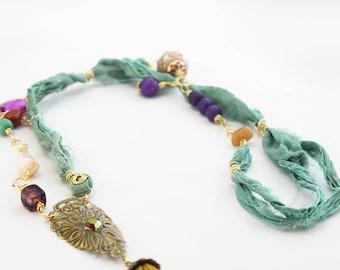 The Lover Coracias Necklace, Boho Sari Silk Necklace