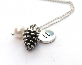 Pinecone necklace - Bridesmaid necklace - Pine Cone necklace - Initial necklace - Silver pine cone pendant - Nature necklace - Woodland