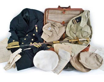 Rare World War II U.S. Navy Officer's Effects Bundle- Uniforms, Medals, Officer's Dress Sword, Paper Orders, Monogramed Leather Suitcase