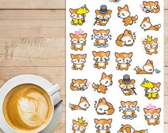 Kawaii Fox Planner Stickers | Fox Stickers | Kawaii Stickers | Cute Fox Stickers | Orange Fox Stickers | Funny Fox Stickers (S-148)