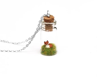 Fox Necklace, Mother's Day Gift For Her, Spring Terrarium Necklace, Animal Lover, Tiny Glass Bottle