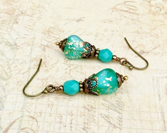 Aqua Earrings, Turquoise Earrings, Green Earrings, Gold Earrings, Victorian Earrings, Czech Glass Beads, Aquamarine Earrings, Gifts for Her