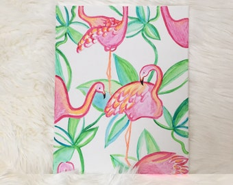 Lilly Pulitzer Inspired Flamingo Painting