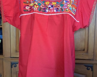 Puebla Mexican Hand Embroidery Red Ladies Womens Blouse Top  xlarge Valentine Lace