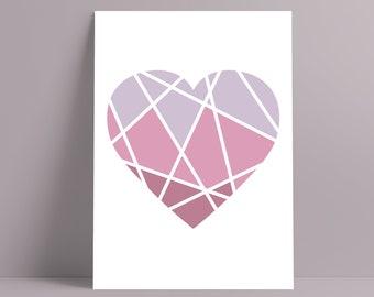 Heart Print || A3 || Geometric Art || Home Decor