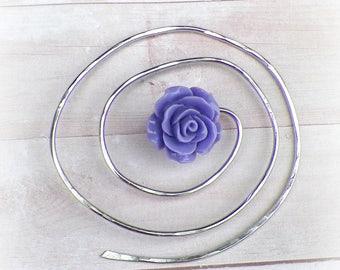 Shawl Spiral Pin Penannular Mimimalistic Purple Brooch Rose Vintage Hammered Minimalist  Style Scarf Pin Outlander